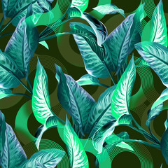 Leaves Seamless Pattern. Artistic Background.