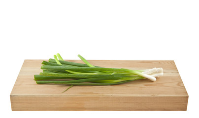 green onion isolated on white background closeup
