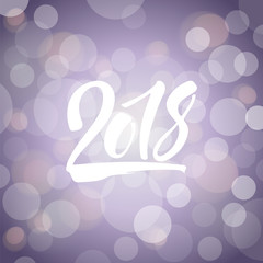 Shiny violet new year card with hand drawn lettering 2018