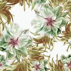 Peonies seamless pattern.