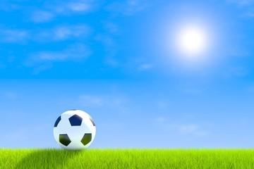 Football green grass landscape background 3d illustration