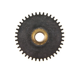 gears for a clock isolated on a white background close-up