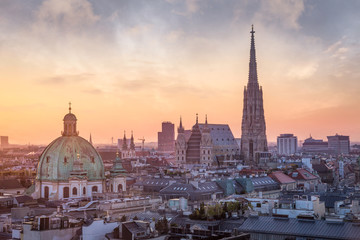 Printed roller blinds Central Europe Vienna Skyline with St. Stephen's Cathedral, Vienna, Austria