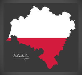 Dolnoslaskie map of Poland with Polish national flag illustration