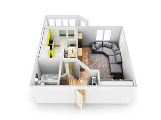interior apartment roofless apartment layout 3d render
