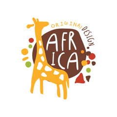 Original african logo with cute giraffe