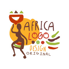 African ethnic tribal logo with female silhouette