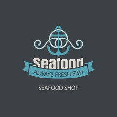 Vector emblem or banner for seafood shop with an anchor, rope and words always fresh fish on the dark background in retro style.