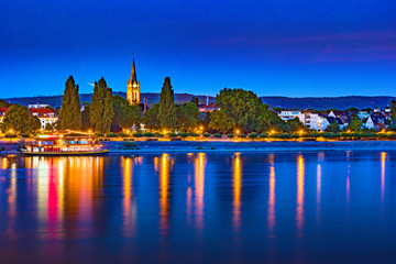 Skyline of Bonn, Germany. Beautiful night shot of great german city.