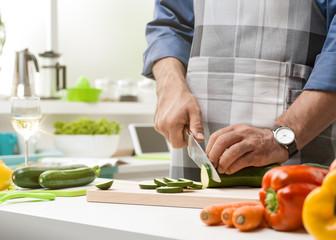 Man preparing lunch in the kitchen