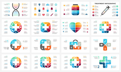 Vector plus infographic, medical diagram, healthcare graph, hospital presentation, emergency chart. Medicine doctor logo. Medication pills treatment. DNA science. Concept with 4, 8 options, parts