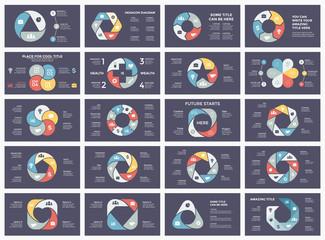 Vector circle arrows infographic, cycle diagram, graph, presentation chart. Business concept with 3, 4, 5, 6, 7, 8 options, parts, steps, processes. 16x9 dark slide templates bundle.