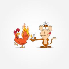 Cute cartoon monkey with a cock