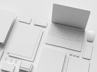 White Stationery & Branding Mockup . Office supplies, Gadgets. 3D illustration