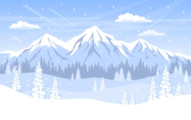 winter landscape background with pine trees forest woodland mountains and snow