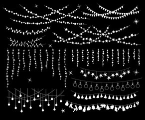 hanging light bulb stars circles flags lamps garlands set for wedding xmas christmas new years festivals birthday design
