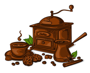 Coffe Set Vector Illustration. Coffee cup, beans, grinder, cinnamon, sugar, coffee pot and cookies