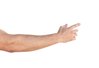 Empty man hand sign on white background