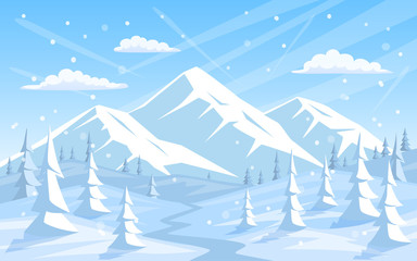 winter rocky mountains xmas vacation happy new year greeting landscape background