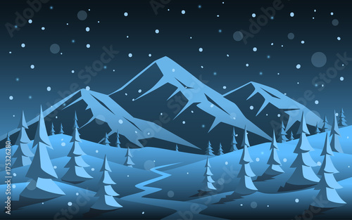 winter night rocky mountain and pine forest woodland cartoon xmas christmas new year background