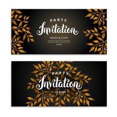 Gold Autumn Floral invitation