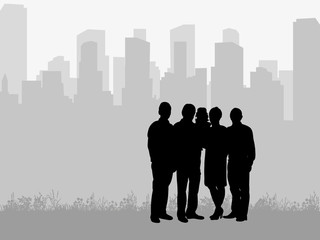 silhouette of family on city background, vector