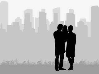 silhouette of family on city background