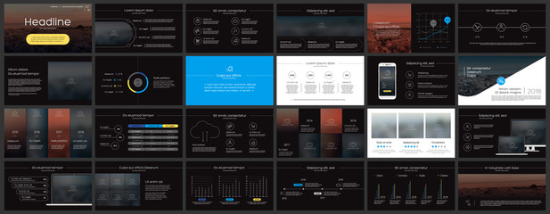 Minimalist presentation templates elements on a dark background. Vector infographics. Use in Presentation, flyer and leaflet, corporate report, marketing, advertising, annual report, banner.