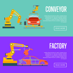 Smart robotic automotive assembly line concept. Modern engineering systems, automobile production line, car manufacturing process. Factory with conveyor for assembly of cars vector illustration.
