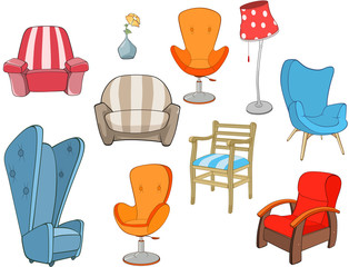 Door stickers Baby room Set of Illustration chairs and armchairs for Computer Games
