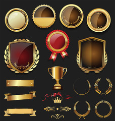 Luxury gold and silver labels retro vintage collection