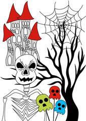 skeleton halloween and tree
