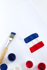 France Flag with paints and brushes on white background