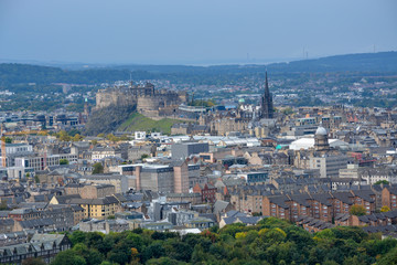 View on Edinburgh castle and the old town from Arthurs Seat, Scotland