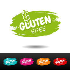 Wall Mural - Set of Gluten free badges. Vector hand drawn labels.