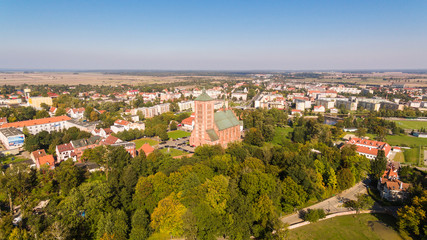 Aerial view of the Church of Saint Catherine of Alexandria in Braniewo, Poland