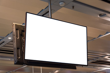 Blank ad space screen hanging from the ceiling