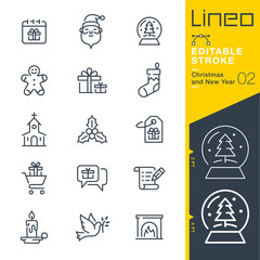 Lineo Editable Stroke - Christmas and New Year line icons, Vector Icons - Adjust stroke weight - Expand to any size - Change to any colour
