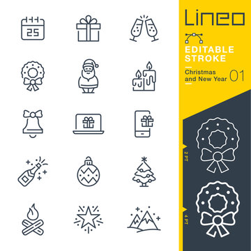 Lineo Editable Stroke - Christmas and New Year line icons Vector Icons - Adjust stroke weight - Expand to any size - Change to any colour