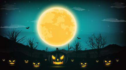 Halloween night background with pumpkin, naked trees, bat and full moon on dark background