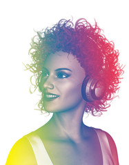 Life is colorful,3d illustration of happy woman in curly hairstyles listening to music