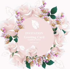 Delicate rose and lavender flowers Card vector. Round wreath frame. Primrose pink colors