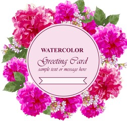 Watercolor flowers blossom card. Vintage colorful greeting card. Summer floral peonies. flower decoration bouquets