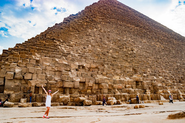Girl near the pyramid in Cairo, Egypt