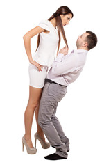 Woman dominates male. Female boss berates his subordinates. Interaction in the business team. Woman director and a man slave. Relationship between man and woman. Isolated white background.