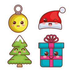 merry christmas kawaii characters