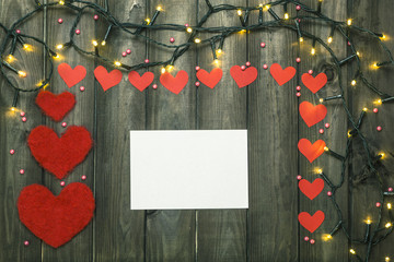 Festive, Christmas garland with hearts. Christmas decoration for lovers. Holidays.