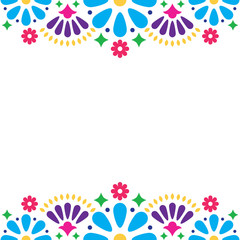 Mexican folk vector wedding or party invitation, floral happy greeting card, colorful design with flowers and abstract shapes