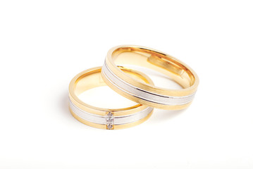 Gold striped wedding rings