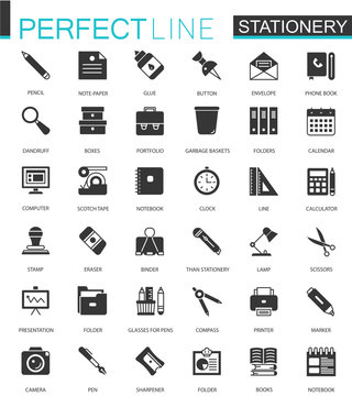 Black classic office stationery icons set for web